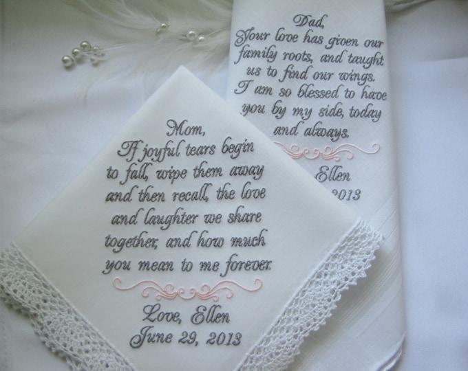 Set of two Wedding Handkerchiefs, Mother of the Bride,  Father of the Bride,  Bride, Wedding Handkerchief, Wedding Hankies,