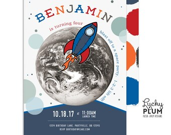 Outer Space Invitation / Astronaut Birthday Invitation / Rocket Ship Birthday Invitation / Space Shuttle / NASA  *Digital Invite