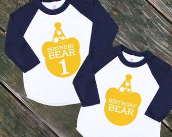 Birthday Bear Baby Navy Blue Raglan Sleeve Baseball TShirt with Mustard Yellow Print - Infant and Kids Sizes - First Birthday Party Gift
