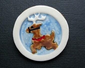 Reindeer Porcelain Brooch Handmade Christmas Jewelry