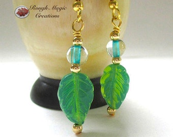 Spring Green Leaves Earrings, Aqua Gold Jewelry for Women, Everyday Earrings, Casual Jewelry, Colorful Gift for Her, Present for Wife E420A