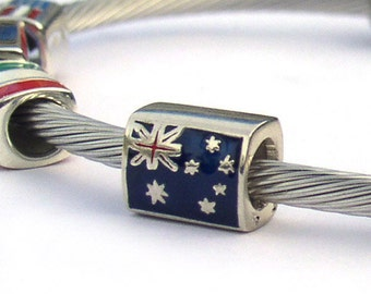 Australian Flag European Bead Sterling Silver