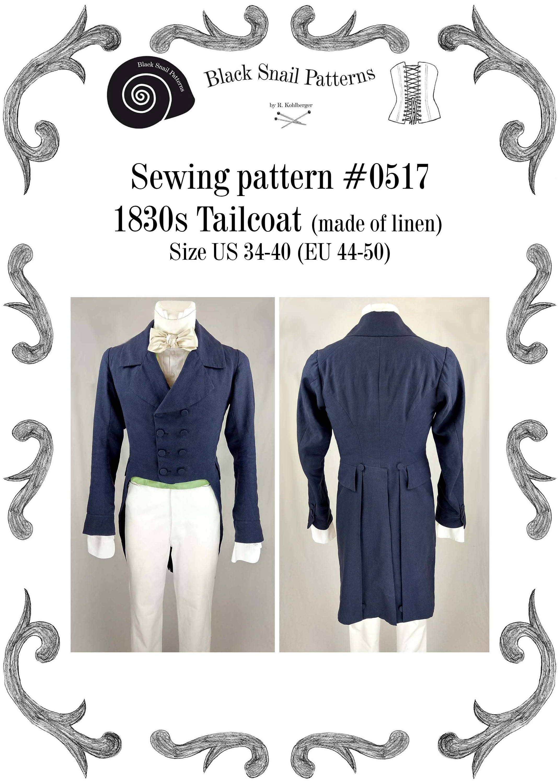 1830 tailcoat linen sewing pattern 0517 size us 34 48 eu zoom jeuxipadfo Images