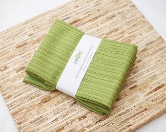 Large Cloth Napkins - Set of 4 - (N2949) - Green Stripe Dots Modern Reusable Fabric Napkins