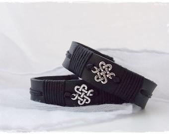 Men's Celtic Bracelet, Infinity Knot Bracelet, Black Leather Bracelet, Celtic Leather Bracelet, Irish Gaelic Bracelet, Men's Leather Jewelry