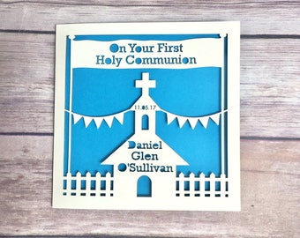 Personalised Holy Communion Card, Baptism, Confirmation, Boy, Girl, Niece, Nephew, Handmade, Catholic Church, Religious Card, 1st Communion