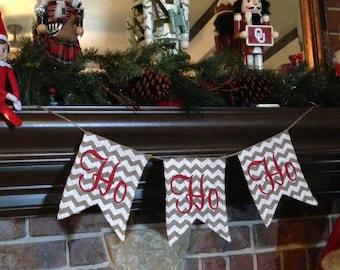 HO HO HO, Farmhouse Christmas, Christmas Banner, Christmas Garland, Xmas Decor, Burlap Christmas, Christmas Chevron, Ho Ho Ho Sign