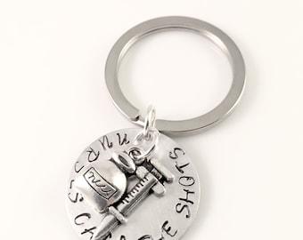 Nurse Keychain, Nurses Call the Shots Hand Stamped Keychain, Charm keychain, for her, nurse graduation, nursing school