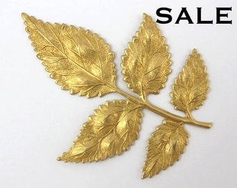 Brass Branch with Leaves Pendant (1X) (M579) SALE - 25% off