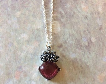 Rose Colored Necklace - Rose Necklace - Rose Jewelry - Rose Flower - Rose Flower Necklace - Rose Flower Jewelry - Rose Stone Necklace - Rose
