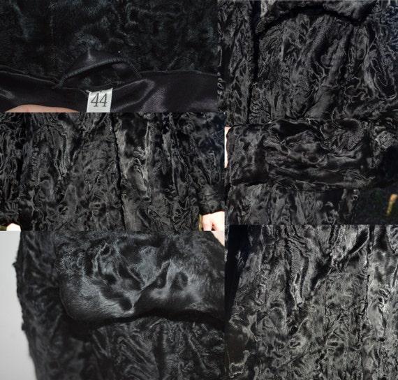 Lamb Persian Swakara Vintage black Astragan Fur coat women Astrakhan RXqqztIw