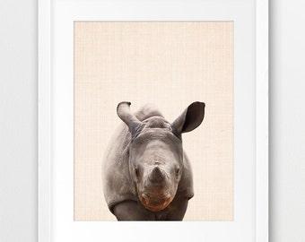 Rhino Print, Baby Rhino Print, Nursery Animal Wall Art, Safari African Animals, Nursery Safari Animal Print, Kids Room Decor, Printable Art