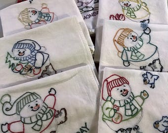 Hand Embroidered Cotton Kitchen Towels, 7 Days a Week Snowman Flour Sack Towels