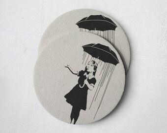 Banksy Drink Coasters – Absorbent Coaster Set of 10 – Coasters for Women & Men – Heavyweight Reusable Thick Pulpboard - Umbrella Girl
