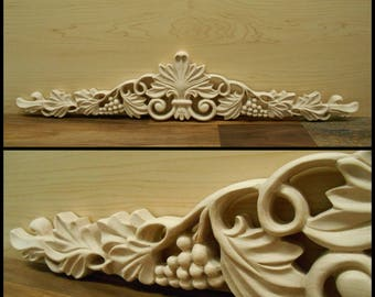 "Onlay- Carved Wood -Grape   Onlay -pc 24-3/4""W x 4- 15/16 "" H  -3/4"" D- Hard Wood - Mapple Onlay"