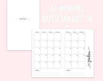 A6 TN Monthly 2018 (Jan - Dec) Pink