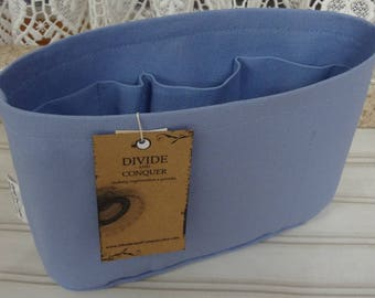 Size SMALL / 10.5 x 3.5 x 6H oval / Ready to ship / Purse ORGANIZER Insert Shaper / PERIWINKLE / Sturdy & Durable / Choice of bottom type