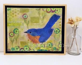 Wall Art - Original Painting - Original -  Framed  - Wall Decor - Bluebird Collage - Canvas Art - Inspirational - Room Decor - 8 x 10