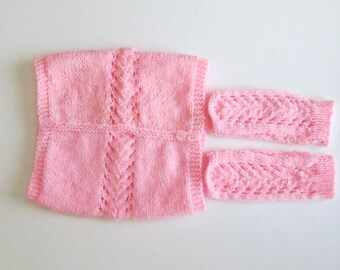 Girls Fingerless gloves and cowl neck scarf set. Baby Pink Fingerless mittens for little girls.Cowl neck scarf for girls with matching mitts