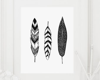 Feathers, Feather Print, Feather Art, Feather Art Print, Black and White, Silhouette, Minimalist, Black and White Print, Black and White Art
