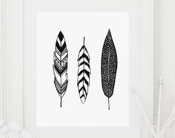 Feathers, Feather Print, Feather Art, Feather Art Print, Black and White, Silhouette, Minimalist, Black and White Print, Black and White Art