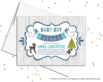 Baby boy rustic baby shower invitations printable - woodland baby shower invitations for boys baby shower invite - WLP00709