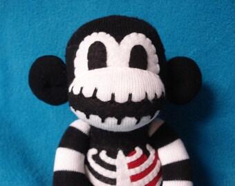 "Macabre - The Original Skeleton Sock Monkey - Halloween Horror Cute Spooky Handmade Doll - 15"""