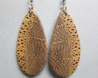 Unique Black Palm Exotic Wood Earrings repurposed ecofriendly Handcrafted ExoticWoodJewelryAnd