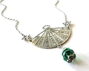 Empress fan necklace, emerald green crystal jewelry, antiqued silver asian fan necklace, vintage inspired fan pendant necklace