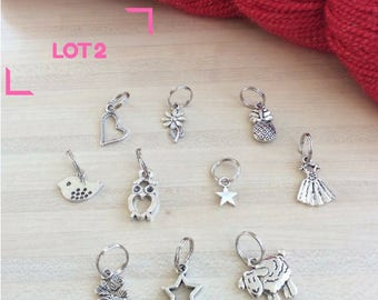 Set of 10 stitch markers for knitting - set no. 2