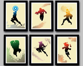Avengers Inspired Minimalist Movie Poster Set - Delux Mini Set  - 6 Prints - 8.5 X 11 Inch - Home Decor