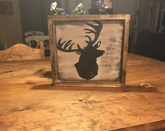 Framed deer sign/rustic /distressed/ country wall decor / hand painted.