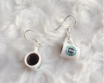 Starbuck Coffee Mug Earring,coffee cup Miniature Jewelry,Sterling Sliver 925 Jewelry Miniature, Miniature Starbuck Earring,Starbuck