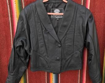 80s Like New Indigo Crop Leather Jacket, Size M, Fits XL