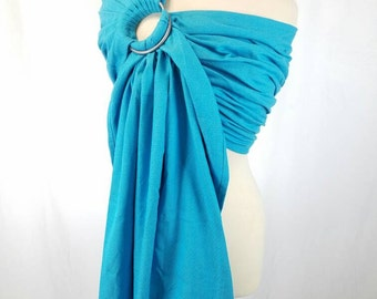 Turquoise Diamond Wrap Conversion Ring Sling Newborn, Infant, Baby, Toddler Carrier - ComfyCutie Hybrid Gathered Pleated Shoulder