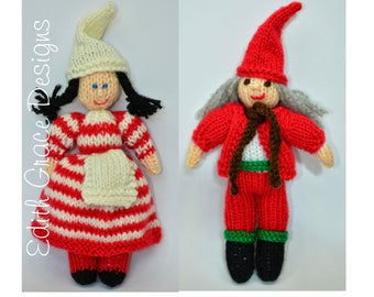 Christmas Toy Knitting Pattern, Christmas Elf Doll Knitting Pattern, Scandinavian Doll, Folk Toy, Rag Doll Knitting Pattern, Julenissen Doll