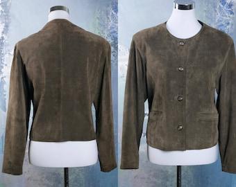 Women's Suede Jacket, Vintage Brown Suede Leather Jacket, Short Jacket, Cropped Suede Jacket: Size 12/14 US, Size 16/18 UK