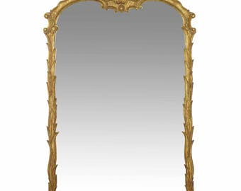 Early 20th Century Rococo Carved Giltwood Antique Pier Wall Mirror