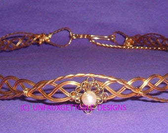 Celtic Elven Eowyn Pearl circlet crown adjustable to fit any size - men and women- larp ren sca
