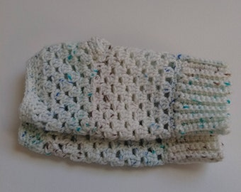 cute white brown blue fingerless gloves