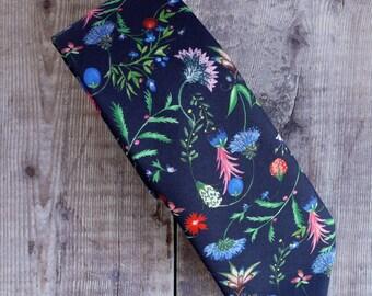 Floral tie - Liberty print tie - Temptation Meadow blue tie - wedding tie - Liberty tie