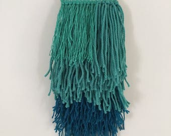 Woven wall hanging - jade and teal