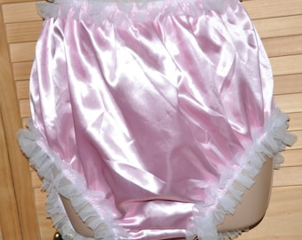 Granny knickers in sensual silky satin in baby pink....BIG silky frilly comfort panties - Sissy Lingerie