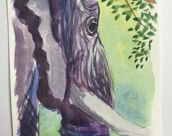 Original watercolor elephant painting