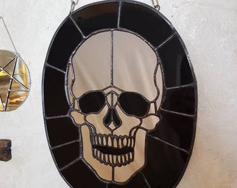 MIRROR OF DEATH - Handmade one of a kind custom designed stained glass wall mirror!