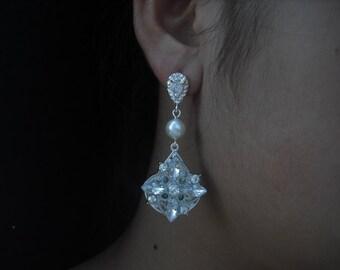 Sophi, Art Deco Rhinestone and  Pearl Post Earrings,  Bridal Earrings, Vintage Style Earrings, Bridal Jewelry, Weddng Jewelry