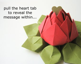 PERSONALIZED Message - Origami Lotus - Paper Flower in gift box - Bright Red, Moss Green - graduation, birthday, anniversary