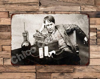 Thomas A Edison Thinking Vintage Look Reproduction Metal Sign 8 X 12 8120381