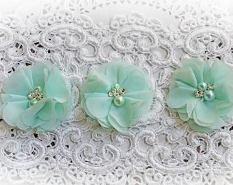 Reneabouquets Flower Set -Soft Mint Green Chiffon, Pearl And Rhinestone Fabric Flowers