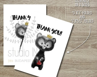 Baby Shower Thank You card printable, Bear Thank you card, Whimsical thank you card, DIY thank you card,